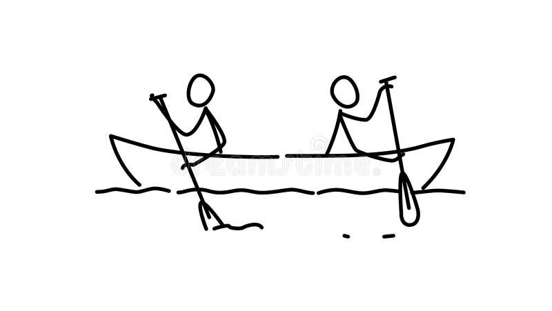两个人的例证小船的 向量 每个队用他们自己的方式 利益冲突隐喻 等高图片 领导 库存例证