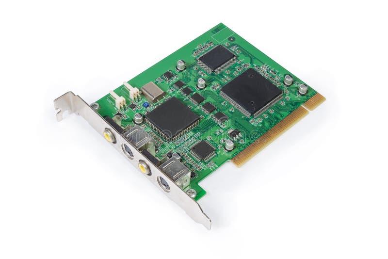 个人计算机的内部视频捕获卡在白色背景 免版税库存图片