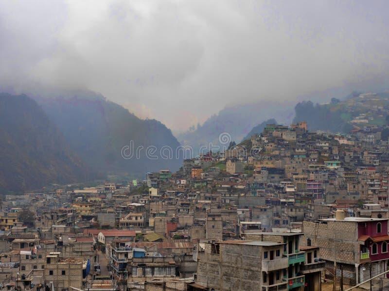 中央Guatemal小山的城市  库存照片