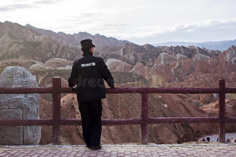 中国保安观看风景 图库摄影