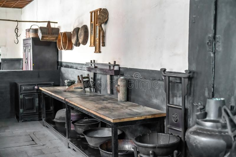 An ancient kitchen in the qiaos courtyard in Shanxi Province, China. Ancient Chinese kitchen utensils,An ancient kitchen in the qiaos courtyard in Shanxi royalty free stock images