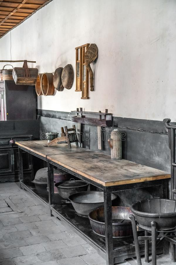An ancient kitchen in the qiaos courtyard in Shanxi Province, China. Ancient Chinese kitchen utensils,An ancient kitchen in the qiaos courtyard in Shanxi stock image