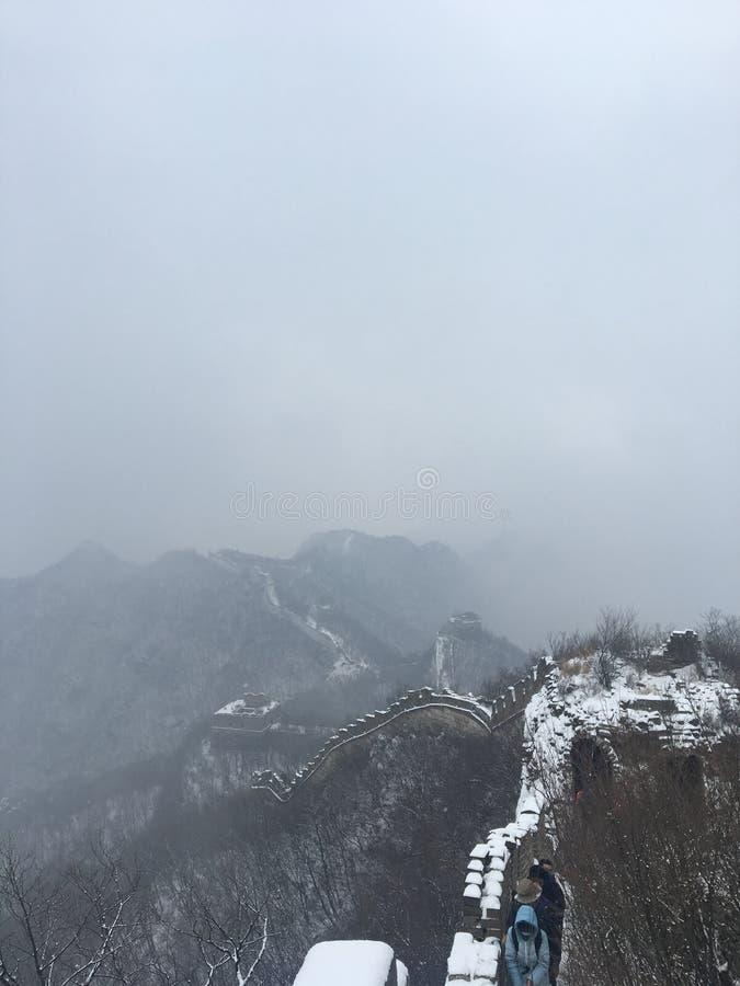 中国长城雪场面 库存图片