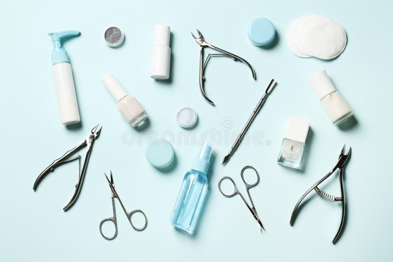 为修指甲和修脚的化妆工具 免版税库存图片