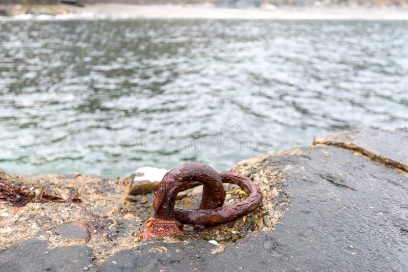 为停泊小船安置在海 免版税图库摄影