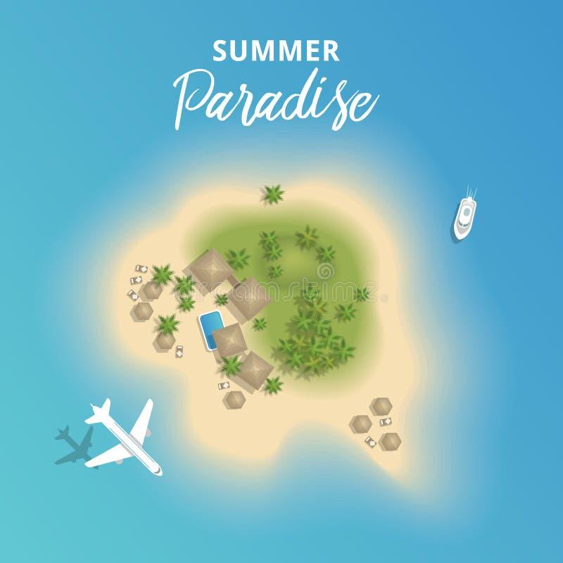 为假期从上面导航美好的夏天热带海岛与飞机和小船 向量例证