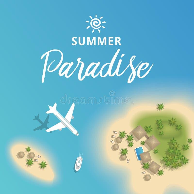 为假期从上面导航美好的夏天热带海岛与飞机和小船 皇族释放例证