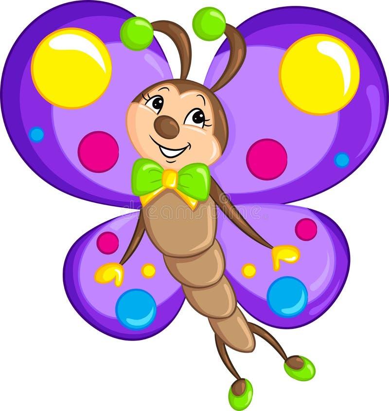 为儿童图书,美妙地上色的,一只小的蝴蝶的可爱的颜色kawaii图画 库存例证