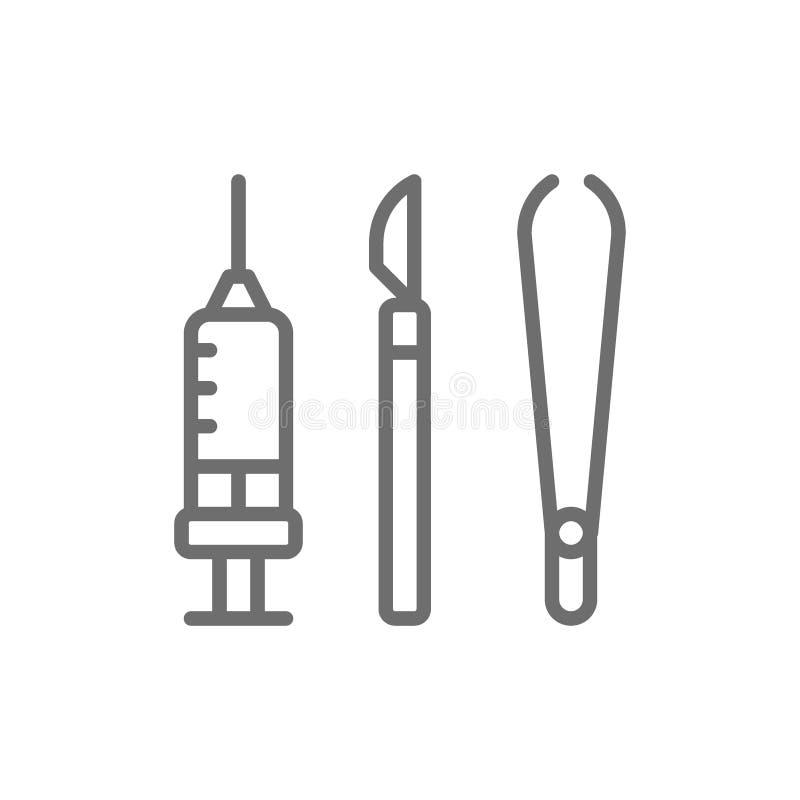 为手术,医疗解剖刀、镊子、钳位和注射器线象的仪器 库存例证