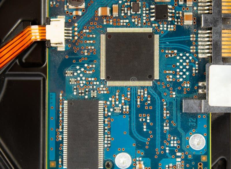 主板特写镜头 3d计算机模型处理器白色 免版税库存图片