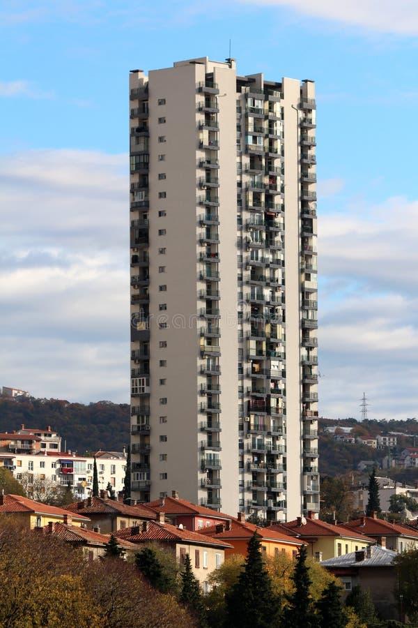 上升在多个家庭房子和更小的大厦上的唯一高摩天大楼在小小山的边围拢与多云 免版税库存图片