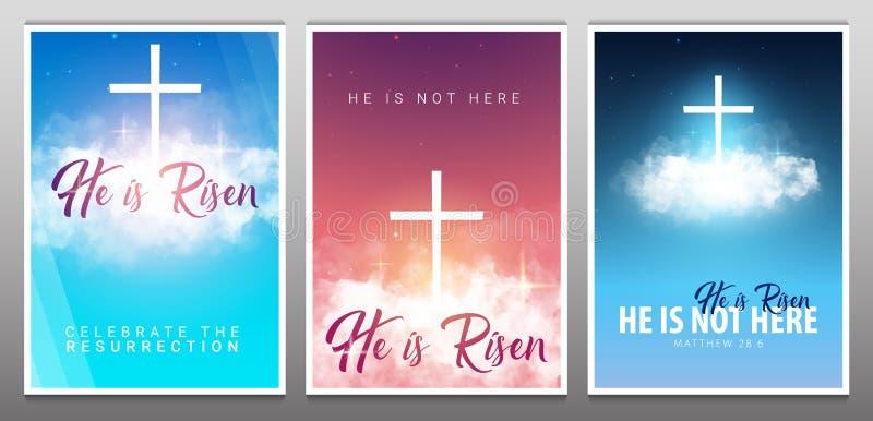 上升 基督徒复活节场面 在剧烈的日出场面的救主的十字架 向量例证