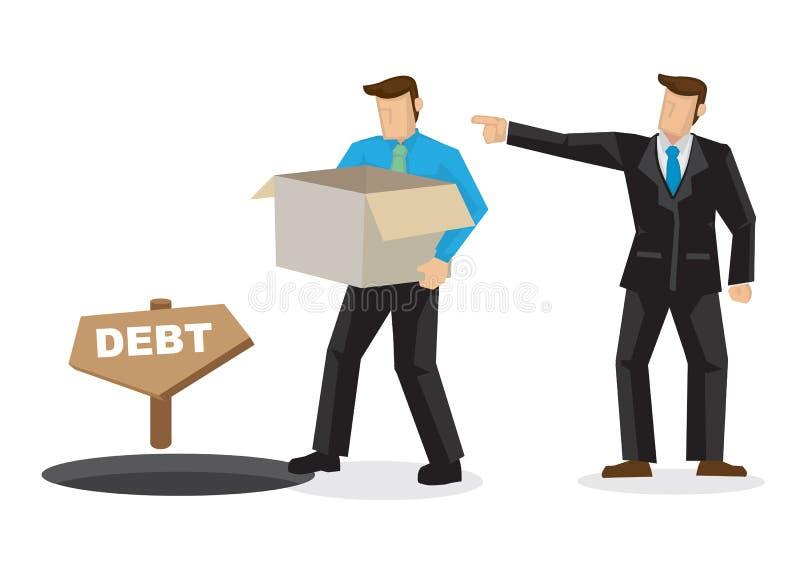 上司遣散了走入债务孔在lossing他的工作以后的雇员 临时解雇和就业的概念 皇族释放例证