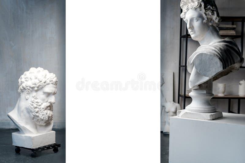 上帝阿波罗胸象法尔内塞赫拉克勒斯的雕塑和胸象 顶头雕塑,膏药拷贝希腊语大理石象  免版税库存照片