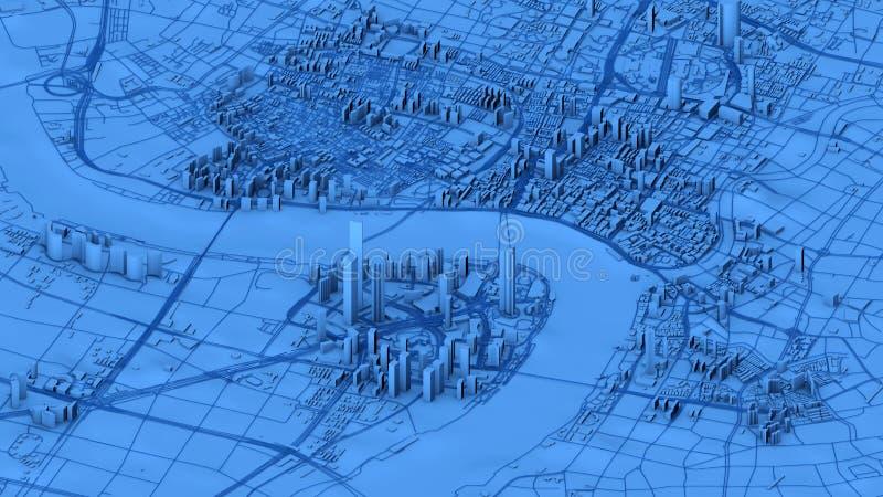 上海,城市的地图卫星看法有房子和大厦的 摩天大楼 中国 图库摄影