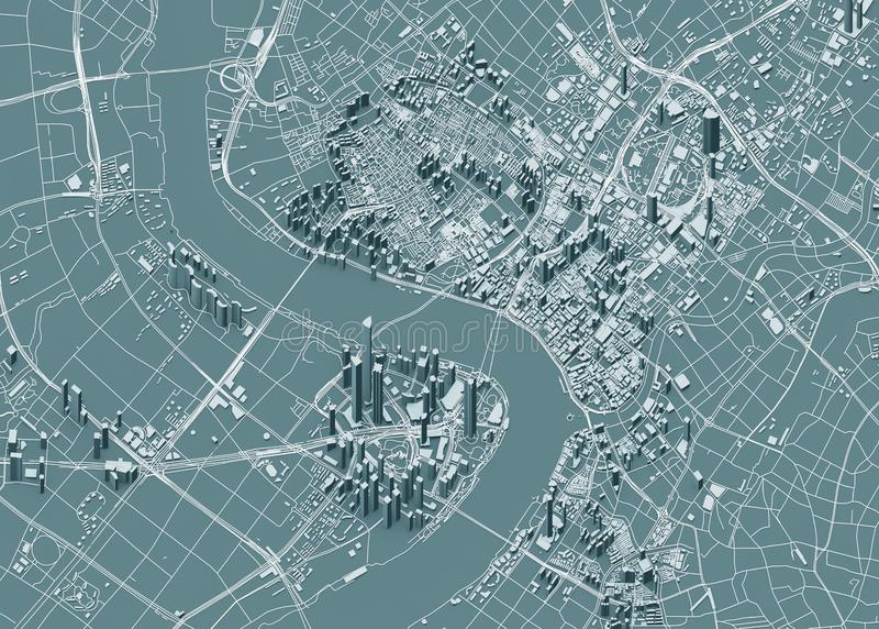 上海,城市的地图卫星看法有房子和大厦的 摩天大楼 中国 免版税库存照片