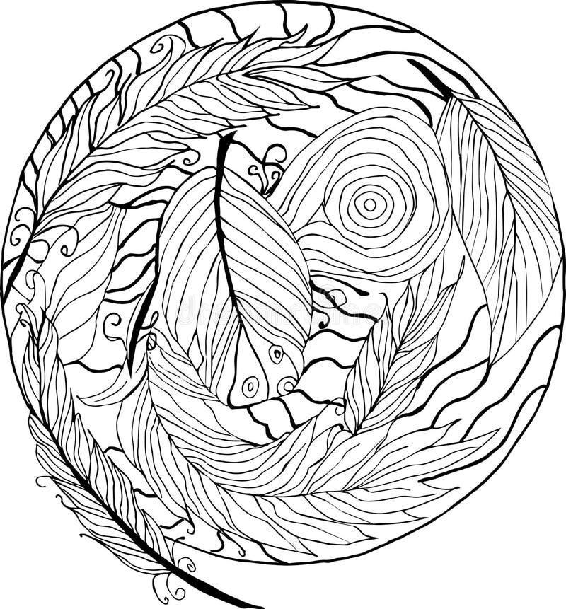 上色antistress,羽毛,卷毛,乱画 向量例证