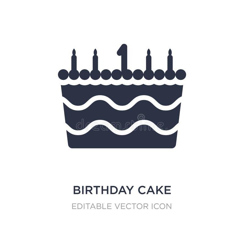 与一个蜡烛象的生日蛋糕在白色背景 从食物概念的简单的元素例证 库存例证