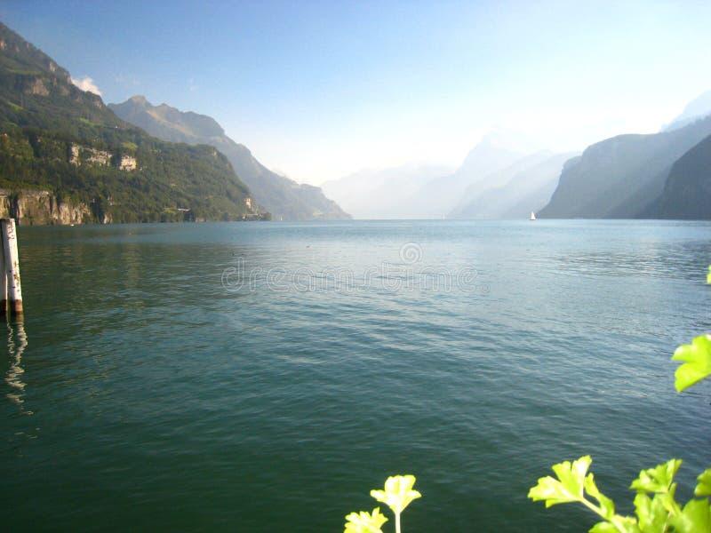 与一个鲜绿色蓝色瑞士湖的美丽全景视图有积雪的山和花的 免版税图库摄影