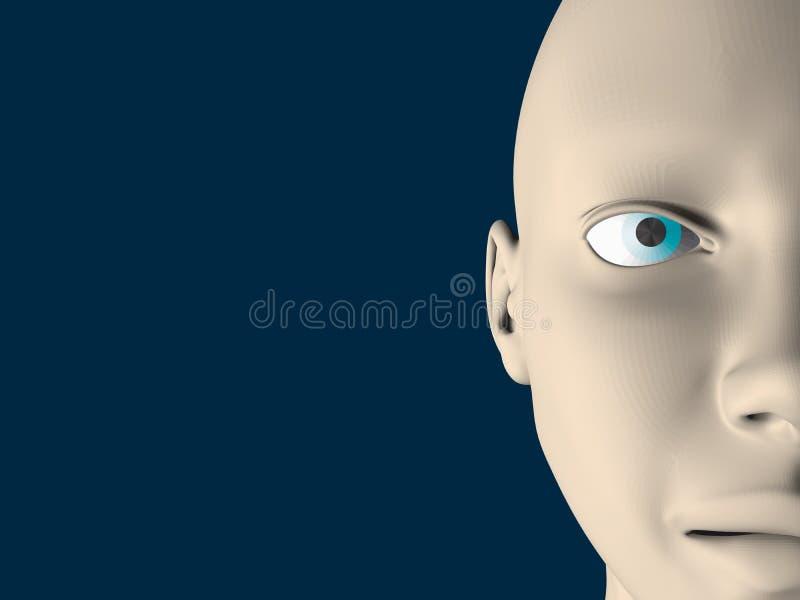 与一半的背景与蓝眼睛的一个人面 3d 也corel凹道例证向量 皇族释放例证