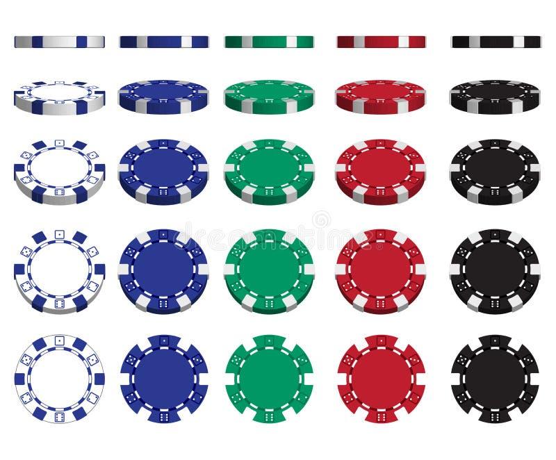 与一套的赌博娱乐场广告演奏在白色背景的芯片 3d向量 高详细的现实例证 皇族释放例证