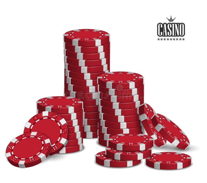 与一套的赌博娱乐场广告演奏在白色背景的芯片 3d向量 高详细的现实例证 向量例证