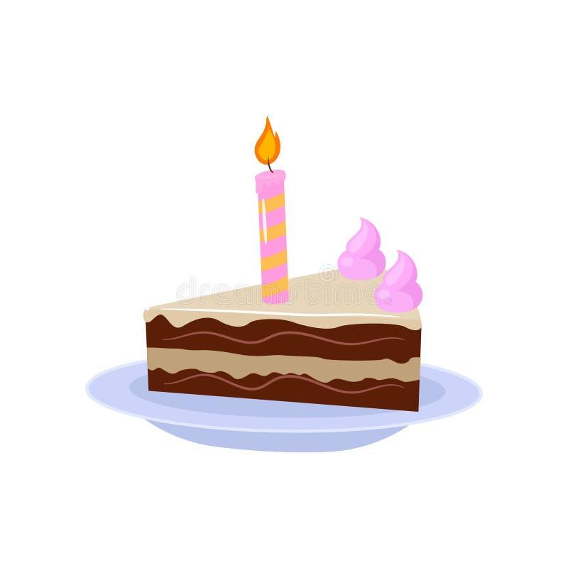 与一蜡烛和奶油装饰的甜果仁巧克力蛋糕在白色背景 向量例证