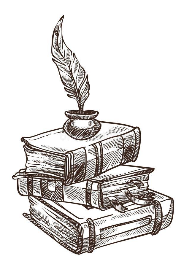 与书签的古色古香的与墨水的书和羽毛 库存例证