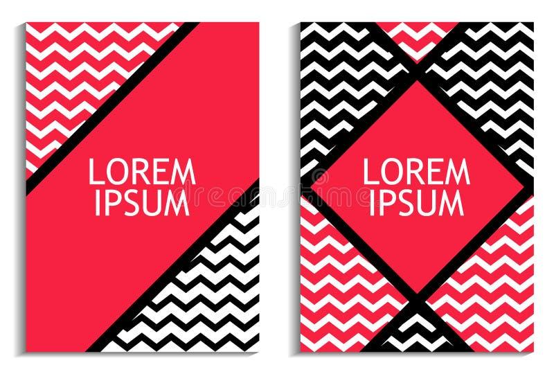 与之字形的海报 背景计算机方式模仿屏幕 小册子设计模板 向量 向量例证