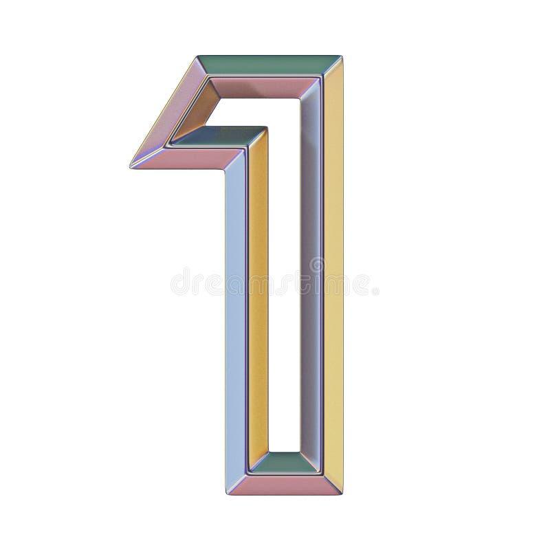 与五颜六色的反射的Chrome字体第1一个3D 库存例证