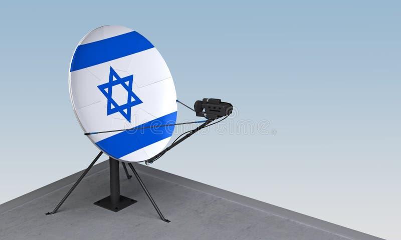与以色列的旗子的卫星盘 向量例证