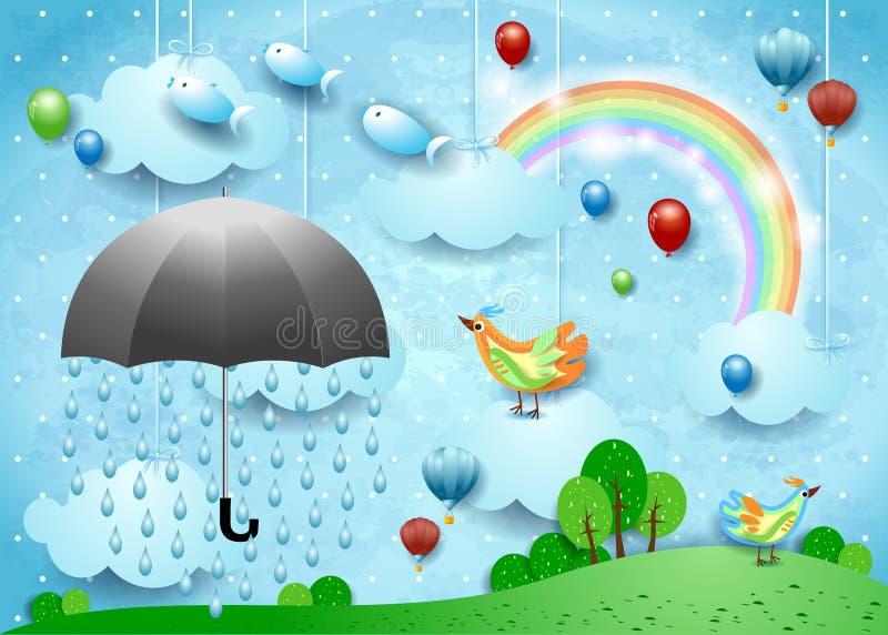 与伞、气球、鸟和飞鱼的超现实的风景 库存例证