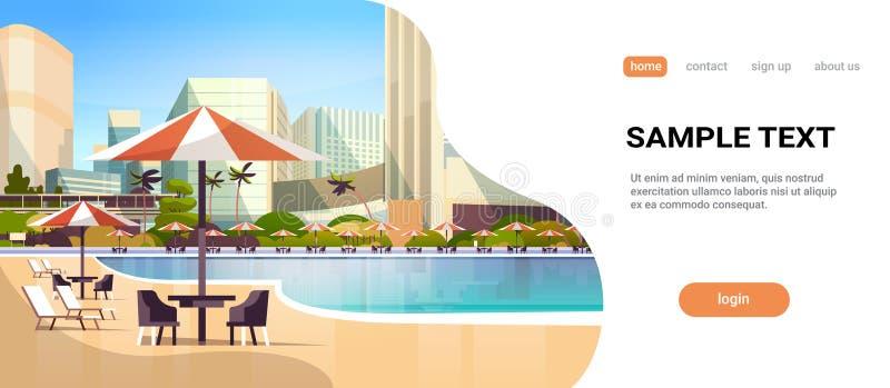 与伞书桌和椅子餐馆家具的豪华城市旅馆游泳场手段在暑假附近 向量例证