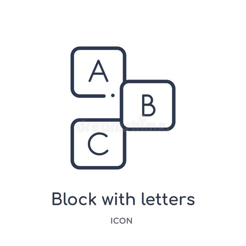 与信件象的线性块从教育概述汇集 与在白色背景隔绝的信件象的稀薄的线条凸版 库存例证