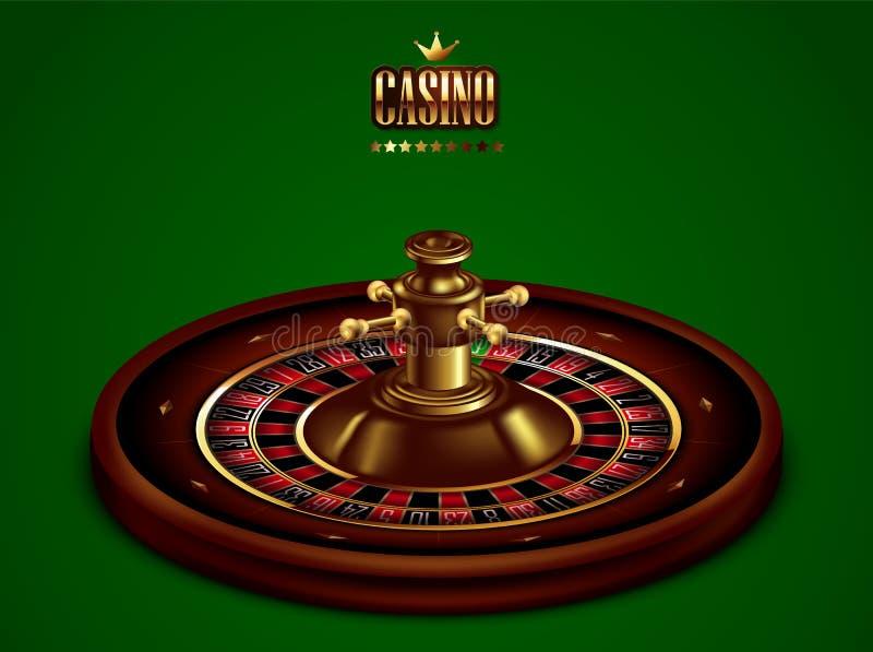 与卷尺的赌博娱乐场广告在绿色背景 3d向量 高详细的现实例证 库存例证