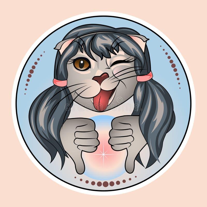 与反感,阴性,失败者姿态的猫Nastya  向量例证