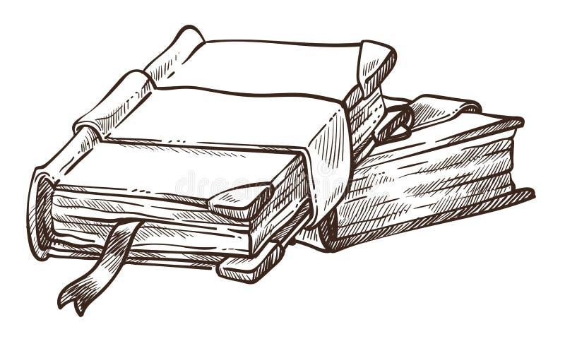 与古色古香的盖子和书签单色剪影概述的书 皇族释放例证