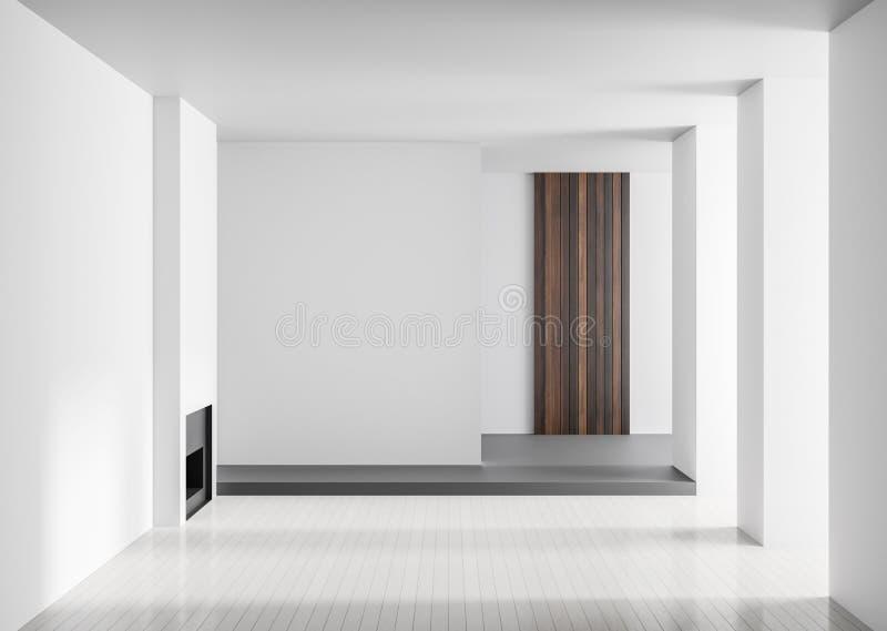 与壁炉的空的宽敞豪华内部 最低纲领派现代内部 3d例证 库存照片