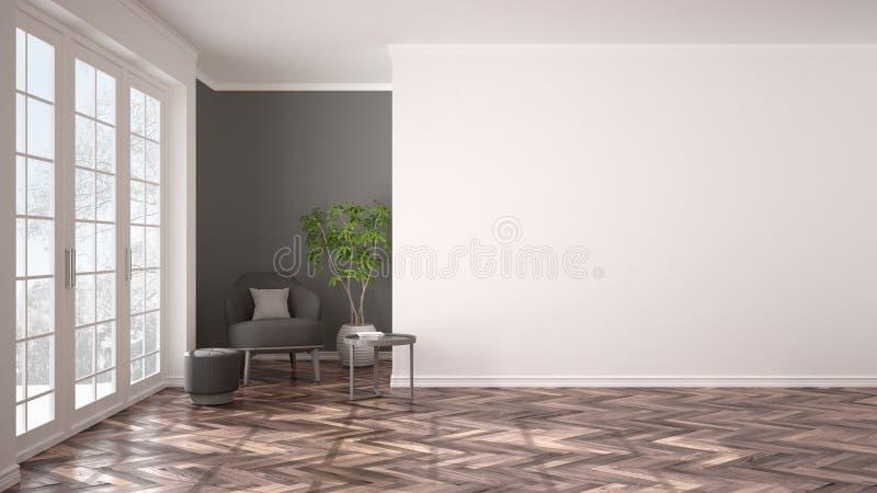 与大全景窗口、扶手椅子、蒲团、桌和植物的空的白色和灰色内部 人字形木条地板地板,经典之作 免版税图库摄影