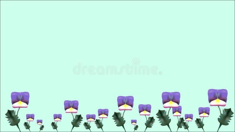 与大和小蝴蝶花花的横幅 向量例证