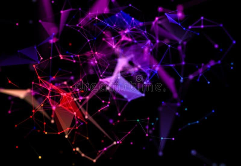与多角形形状的抽象未来派背景在黑暗的背景 数字技术概念 向量例证