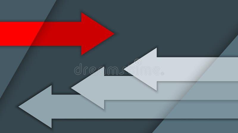 与多重表面,在灰色背景,行动概念的箭头的例证 向量例证