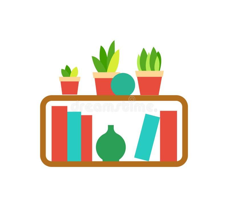 与室内植物的木架子和花瓶导航 库存例证