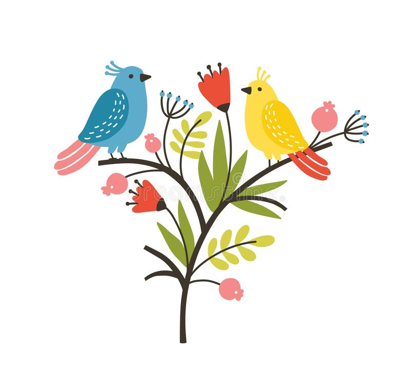 与对的季节性构成可爱的逗人喜爱的鸟坐与开花的春天花和叶子的分支 库存例证