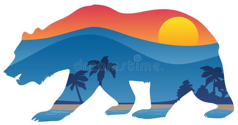 与山海岸线夏天场面覆盖物传染媒介例证的加利福尼亚熊 库存照片
