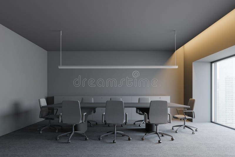 与工作区的现代设计黑暗的办公室内部 3d回报 库存例证