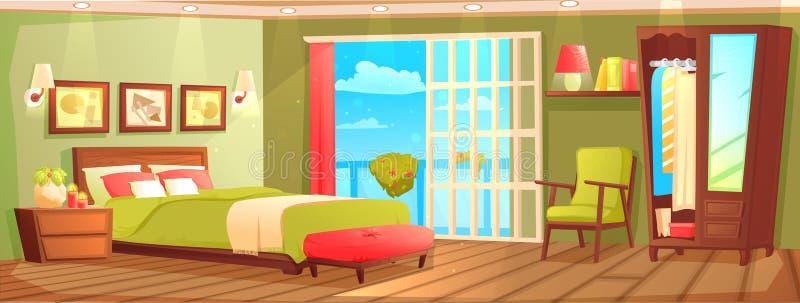 与床的卧室内部、nightstand、衣橱和窗口和植物 皇族释放例证