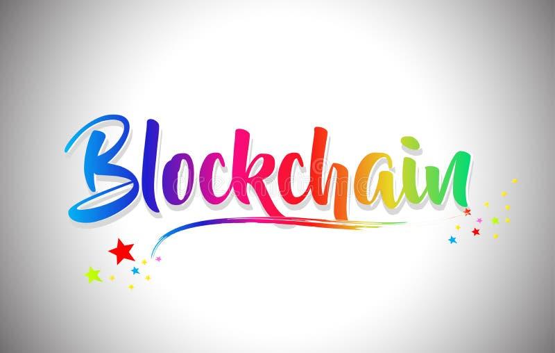 与彩虹颜色和充满活力的Swoosh的Blockchain手写的词文本 库存例证