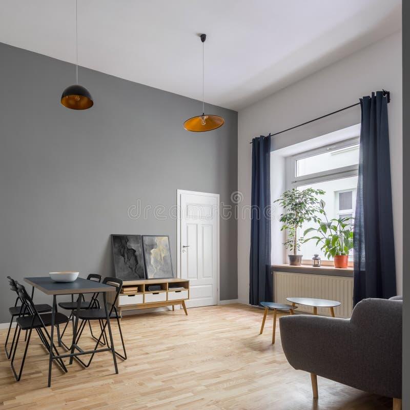 与当代家具的舒适公寓 免版税图库摄影
