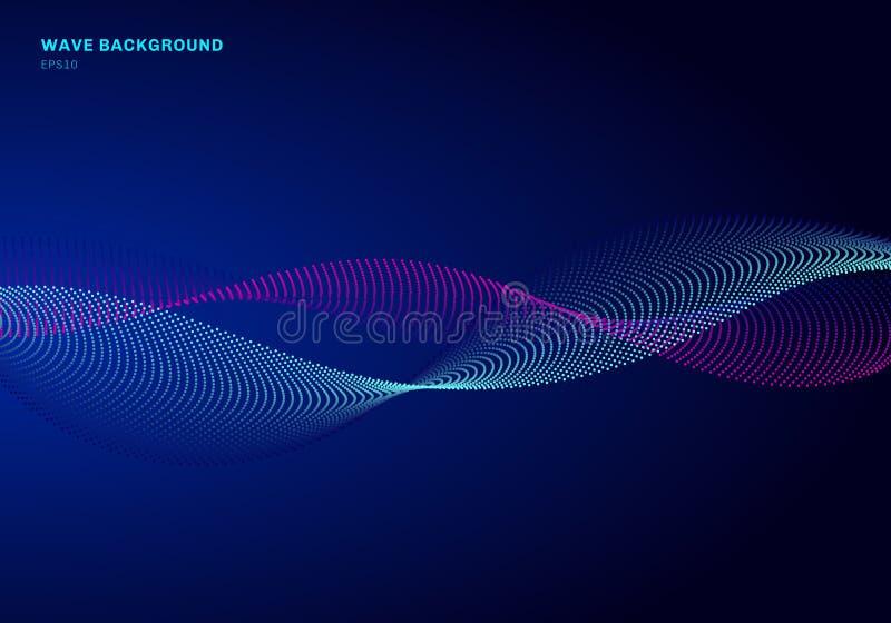 与微粒蓝色和桃红色波浪的抽象网络设计 动态微粒流动在发光的小点黑暗的背景的声波 向量例证